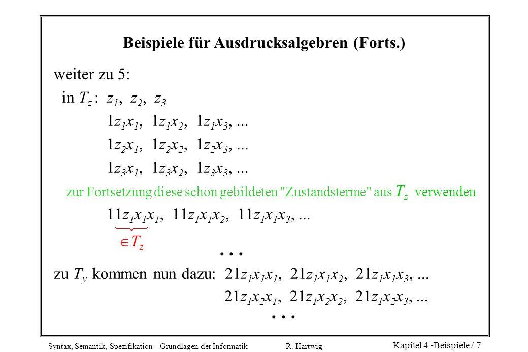Syntax, Semantik, Spezifikation - Grundlagen der Informatik R. Hartwig Kapitel 4 -Beispiele / 7 Beispiele für Ausdrucksalgebren (Forts.) weiter zu 5: