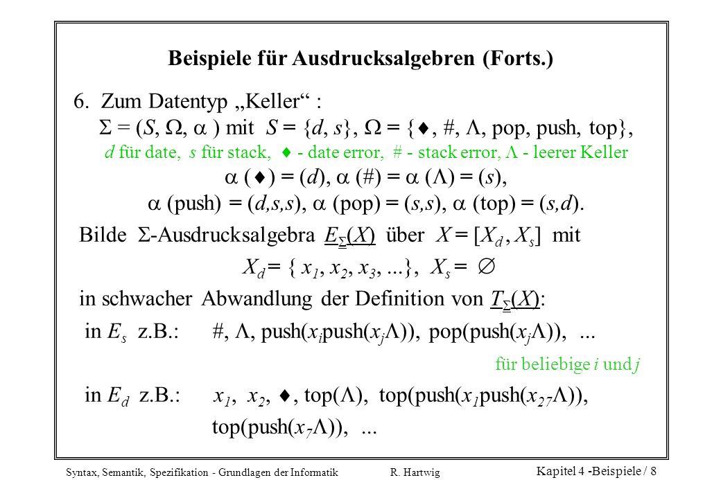 Syntax, Semantik, Spezifikation - Grundlagen der Informatik R. Hartwig Kapitel 4 -Beispiele / 8 Beispiele für Ausdrucksalgebren (Forts.) 6. Zum Datent