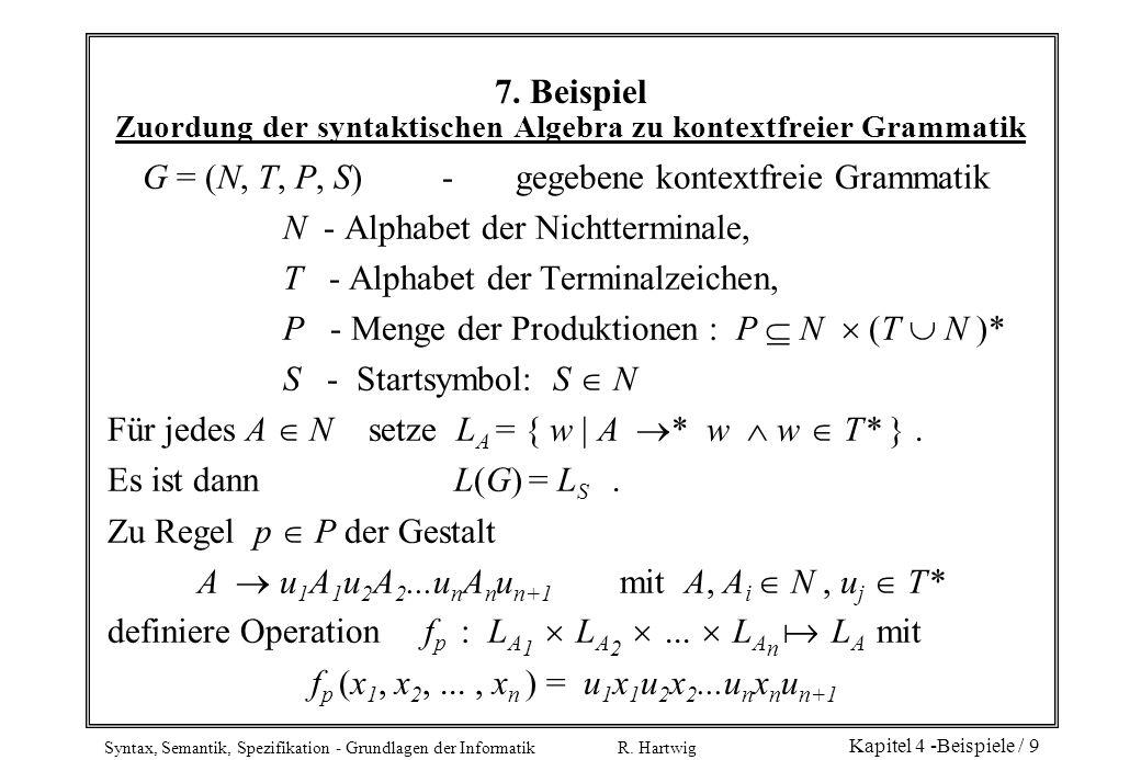 Syntax, Semantik, Spezifikation - Grundlagen der Informatik R. Hartwig Kapitel 4 -Beispiele / 9 7. Beispiel Zuordung der syntaktischen Algebra zu kont