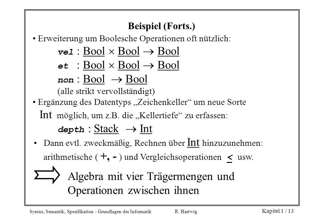 Syntax, Semantik, Spezifikation - Grundlagen der Informatik R. Hartwig Kapitel 1 / 13 Erweiterung um Boolesche Operationen oft nützlich: vel : Bool Bo