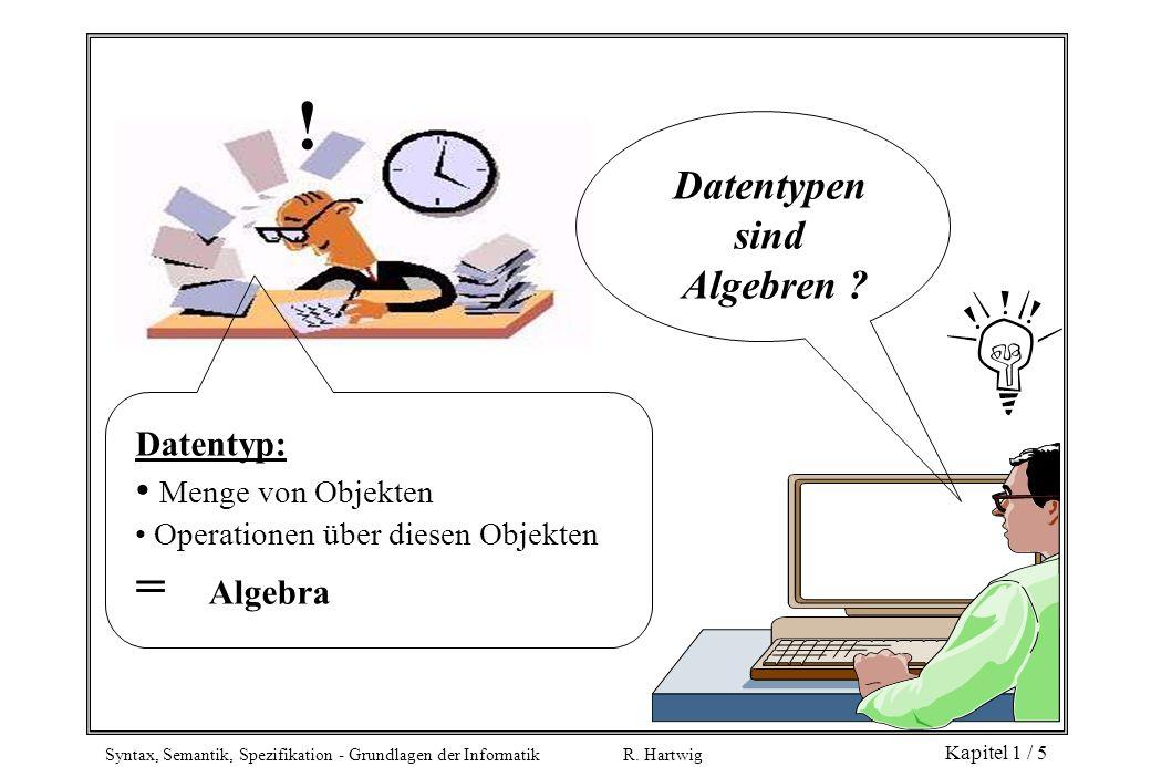 Syntax, Semantik, Spezifikation - Grundlagen der Informatik R. Hartwig Kapitel 1 / 5 Datentyp: Menge von Objekten Operationen über diesen Objekten = A