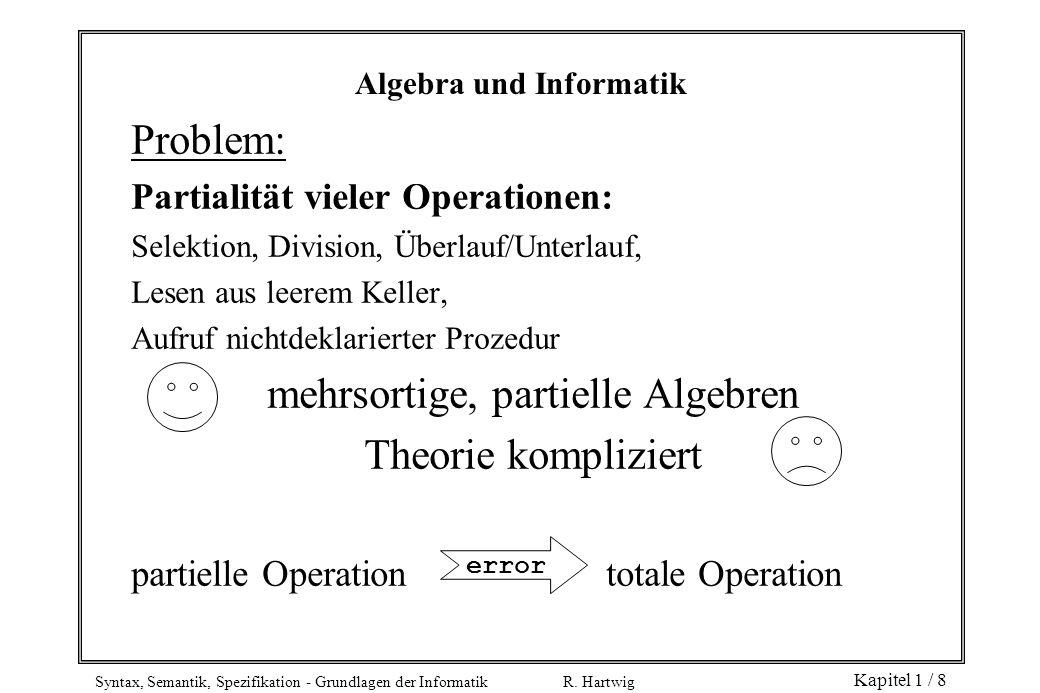 Syntax, Semantik, Spezifikation - Grundlagen der Informatik R. Hartwig Kapitel 1 / 8 Problem: Partialität vieler Operationen: Selektion, Division, Übe