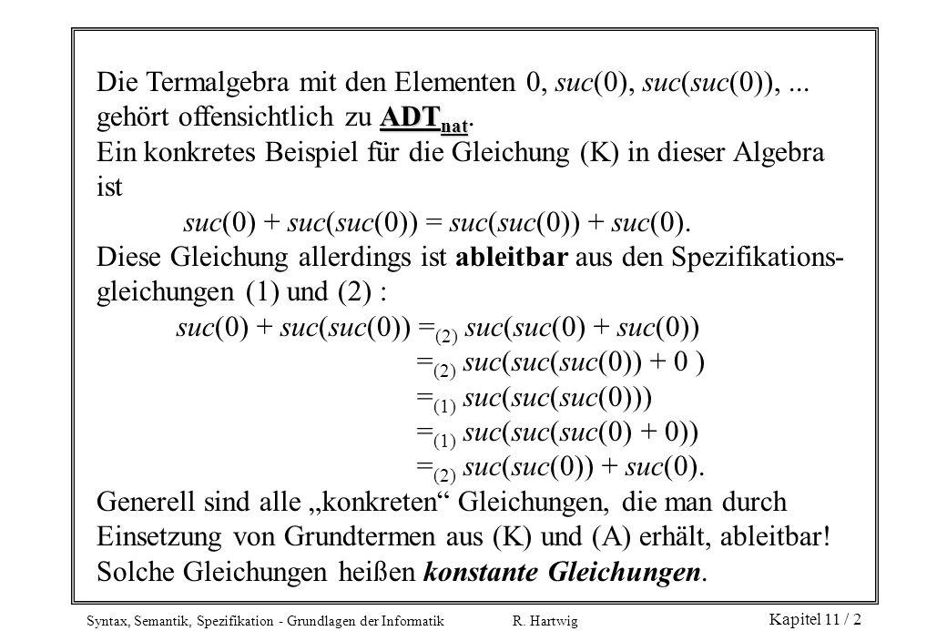 Syntax, Semantik, Spezifikation - Grundlagen der Informatik R. Hartwig Kapitel 11 / 2 Die Termalgebra mit den Elementen 0, suc(0), suc(suc(0)),... ADT