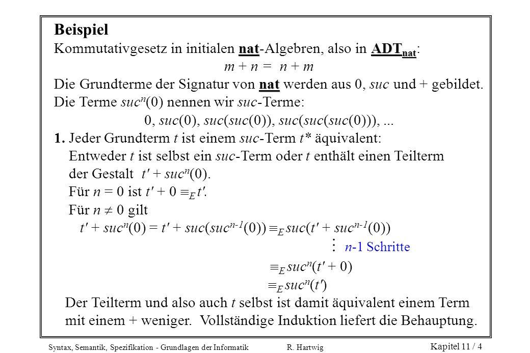 Syntax, Semantik, Spezifikation - Grundlagen der Informatik R. Hartwig Kapitel 11 / 4 Beispiel natADT nat Kommutativgesetz in initialen nat-Algebren,