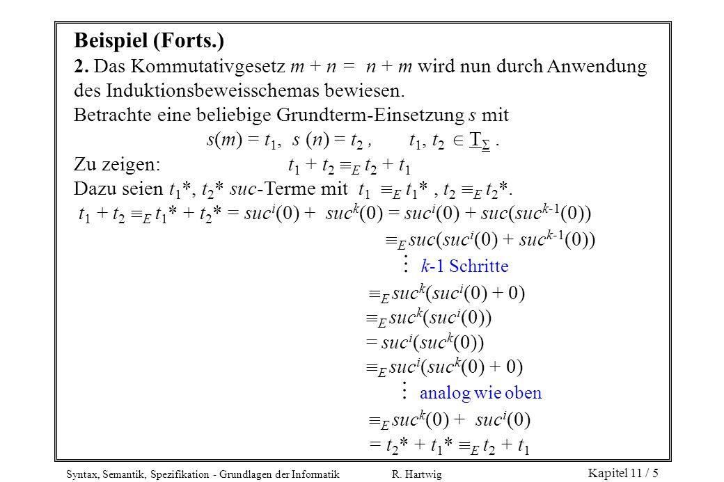 Syntax, Semantik, Spezifikation - Grundlagen der Informatik R. Hartwig Kapitel 11 / 5 Beispiel (Forts.) 2. Das Kommutativgesetz m + n = n + m wird nun