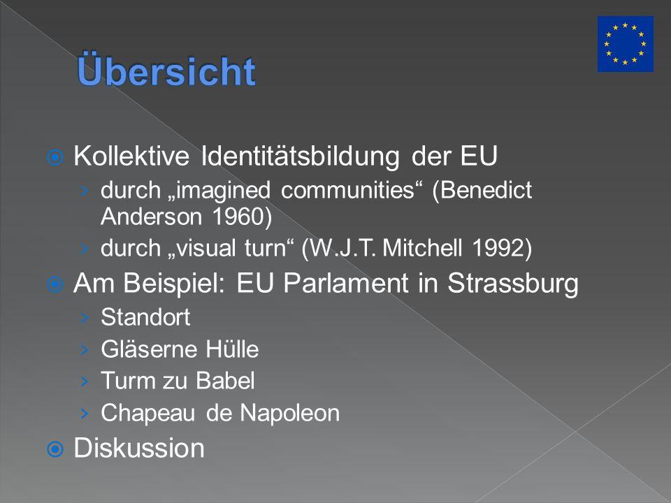 Kollektive Identitätsbildung der EU durch imagined communities (Benedict Anderson 1960) durch visual turn (W.J.T. Mitchell 1992) Am Beispiel: EU Parla
