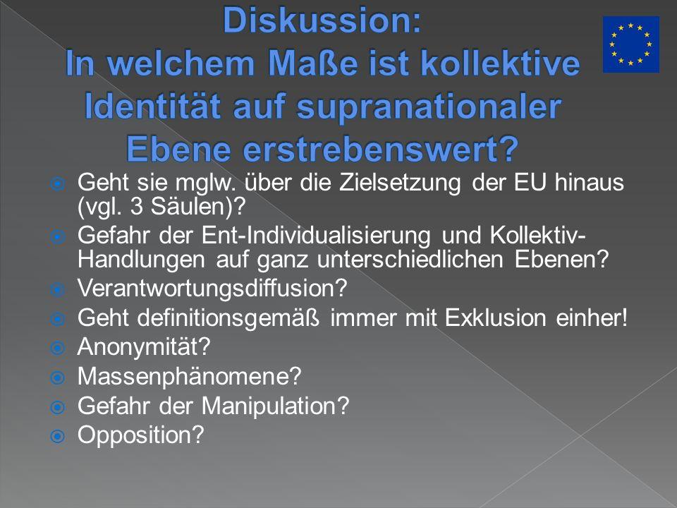 Geht sie mglw. über die Zielsetzung der EU hinaus (vgl. 3 Säulen)? Gefahr der Ent-Individualisierung und Kollektiv- Handlungen auf ganz unterschiedlic