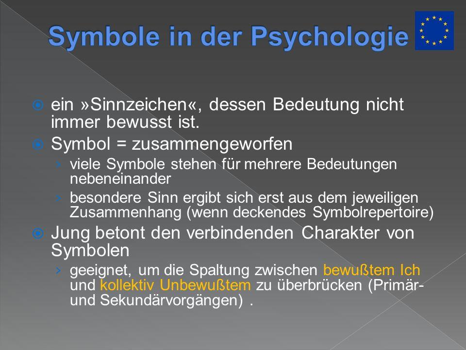ein »Sinnzeichen«, dessen Bedeutung nicht immer bewusst ist. Symbol = zusammengeworfen viele Symbole stehen für mehrere Bedeutungen nebeneinander beso