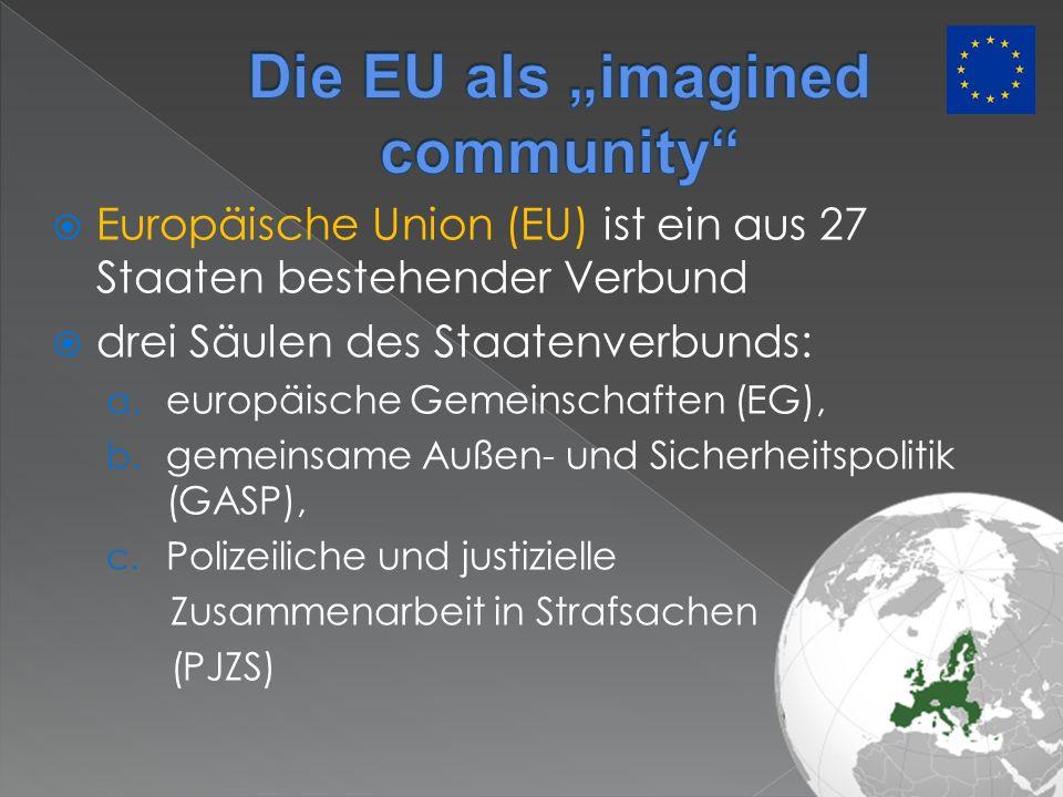 Europäische Union (EU) ist ein aus 27 Staaten bestehender Verbund drei Säulen des Staatenverbunds: a. europäische Gemeinschaften (EG), b. gemeinsame A