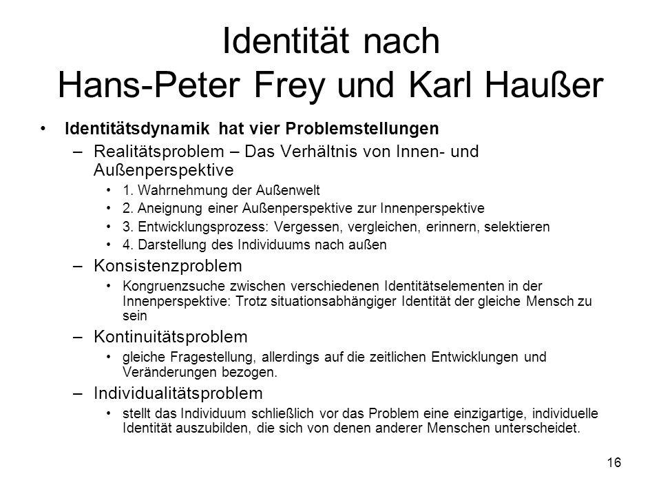 16 Identität nach Hans-Peter Frey und Karl Haußer Identitätsdynamik hat vier Problemstellungen –Realitätsproblem – Das Verhältnis von Innen- und Außen