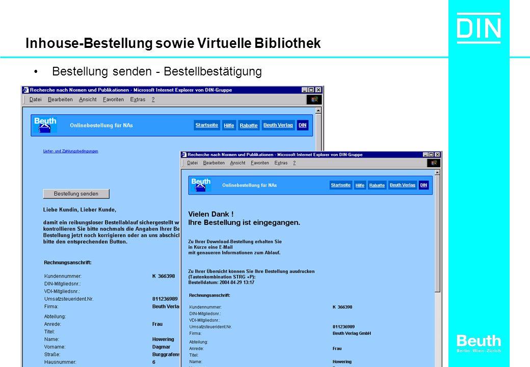 Inhouse-Bestellung sowie Virtuelle Bibliothek Bestellung senden - Bestellbestätigung