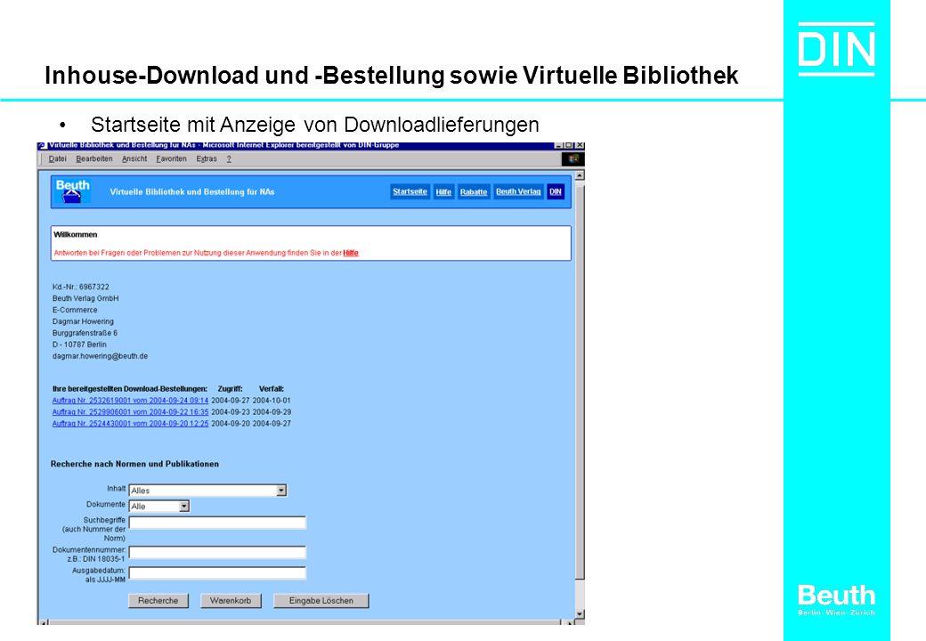 Inhouse-Download und -Bestellung sowie Virtuelle Bibliothek Startseite mit Anzeige von Downloadlieferungen
