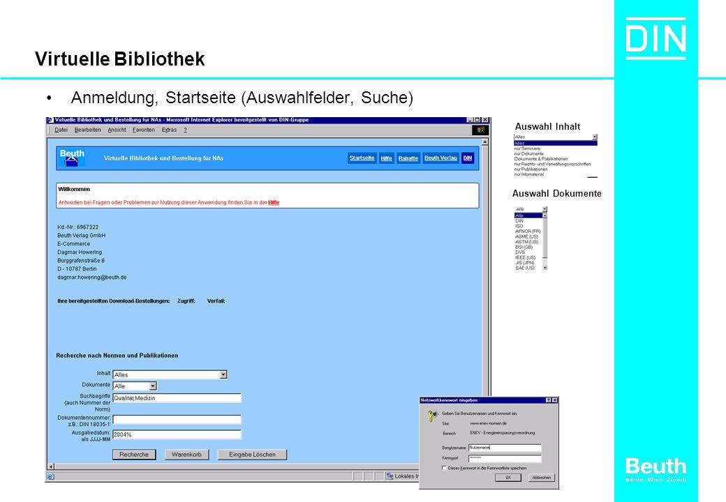 Virtuelle Bibliothek Anmeldung, Startseite (Auswahlfelder, Suche) Auswahl Inhalt Auswahl Dokumente