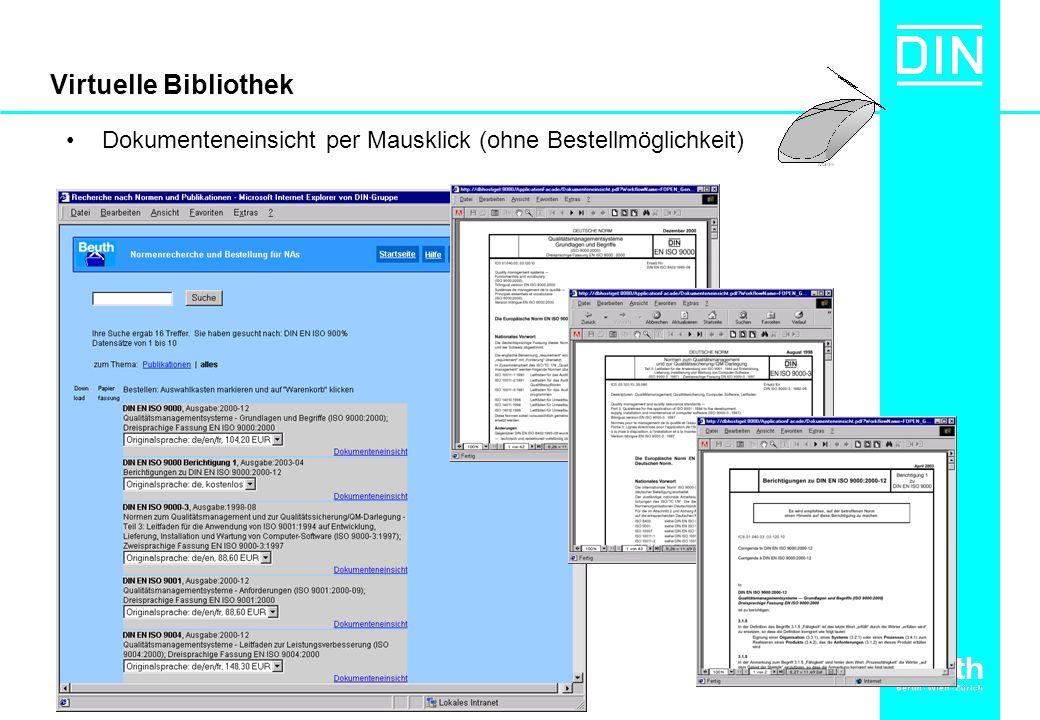 Virtuelle Bibliothek Dokumenteneinsicht per Mausklick (ohne Bestellmöglichkeit)
