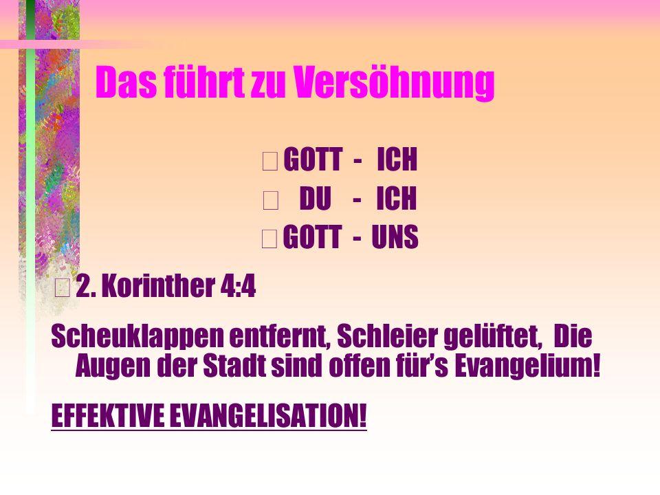 Das führt zu Versöhnung • GOTT - ICH • DU - ICH • GOTT - UNS • 2. Korinther 4:4 Scheuklappen entfernt, Schleier gelüftet, Die Augen der Stadt sind off