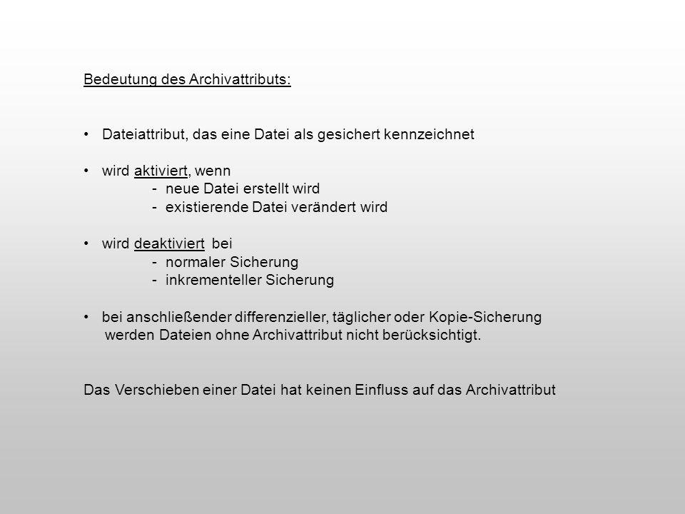 Bedeutung des Archivattributs: Dateiattribut, das eine Datei als gesichert kennzeichnet wird aktiviert, wenn - neue Datei erstellt wird - existierende