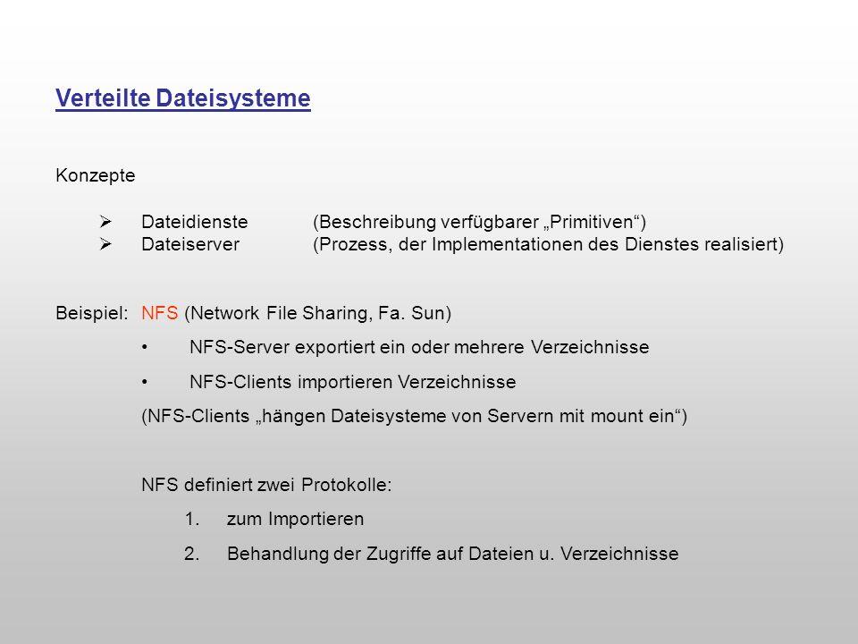 Verteilte Dateisysteme Konzepte Dateidienste (Beschreibung verfügbarer Primitiven) Dateiserver(Prozess, der Implementationen des Dienstes realisiert)