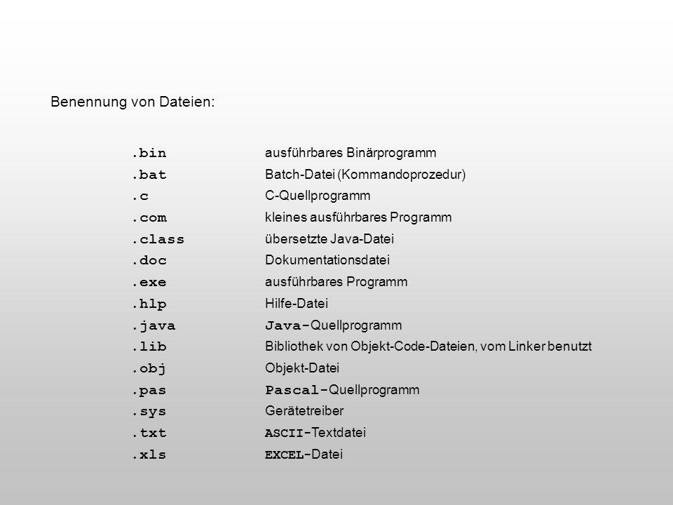 Benennung von Dateien:.bin ausführbares Binärprogramm.bat Batch-Datei (Kommandoprozedur).c C-Quellprogramm.com kleines ausführbares Programm.class übe