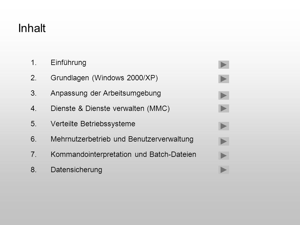 Inhalt 1.Einführung 2.Grundlagen (Windows 2000/XP) 3.Anpassung der Arbeitsumgebung 4.Dienste & Dienste verwalten (MMC) 5.Verteilte Betriebssysteme 6.M