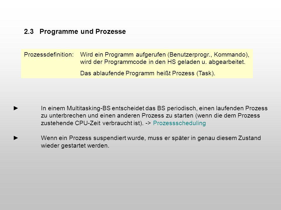 In einem Multitasking-BS entscheidet das BS periodisch, einen laufenden Prozess zu unterbrechen und einen anderen Prozess zu starten (wenn die dem Pro