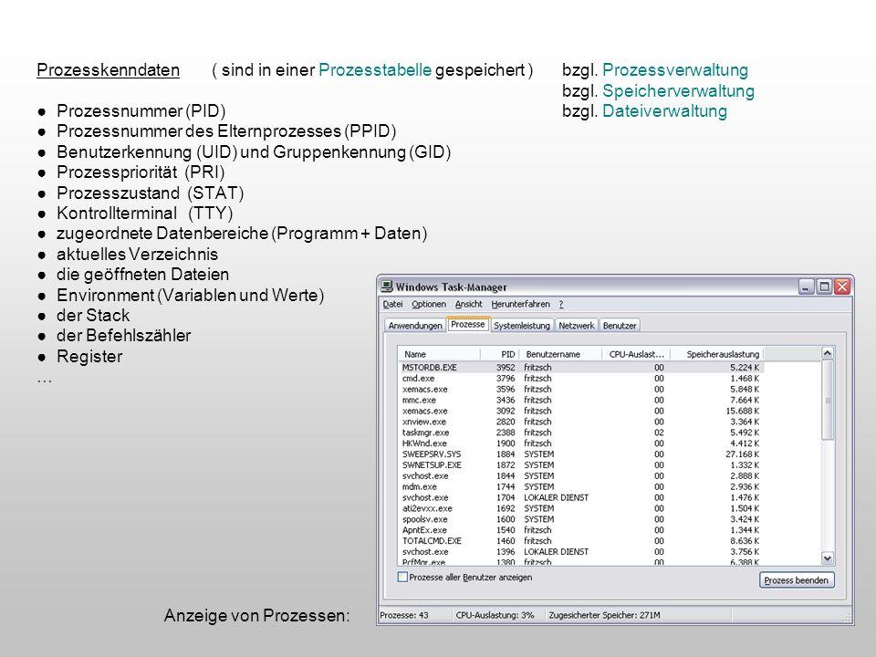 Prozesskenndaten( sind in einer Prozesstabelle gespeichert )bzgl. Prozessverwaltung bzgl. Speicherverwaltung Prozessnummer (PID) bzgl. Dateiverwaltung