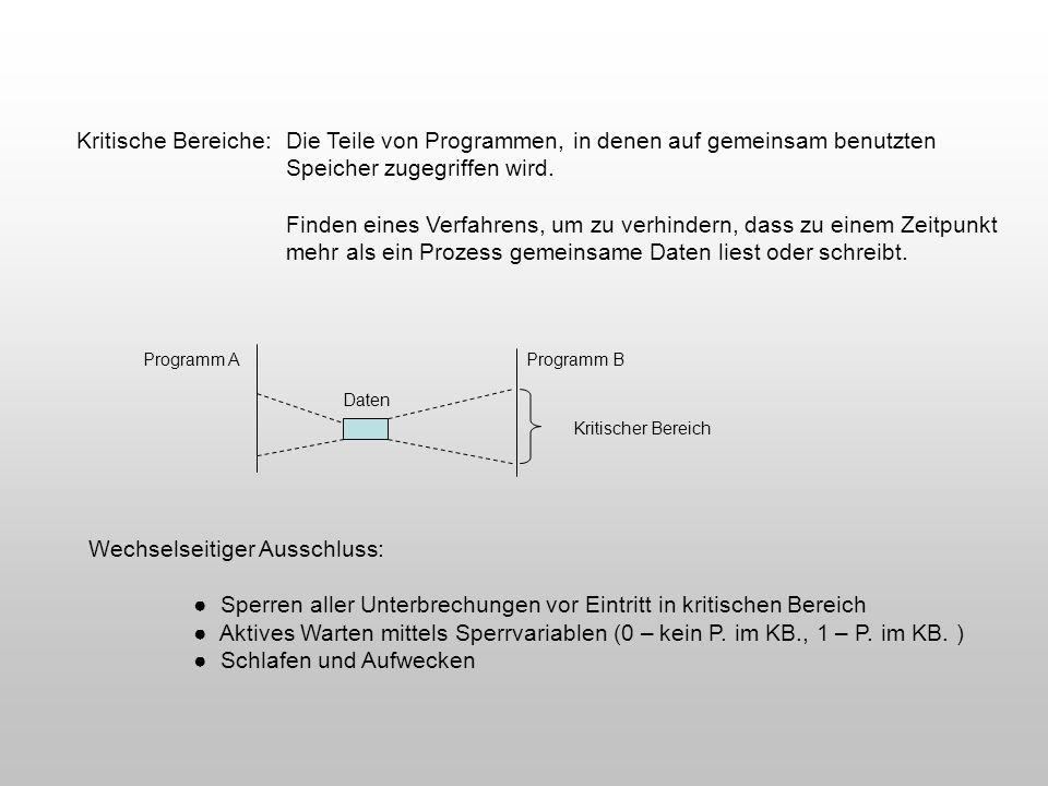 Kritische Bereiche: Die Teile von Programmen, in denen auf gemeinsam benutzten Speicher zugegriffen wird. Finden eines Verfahrens, um zu verhindern, d