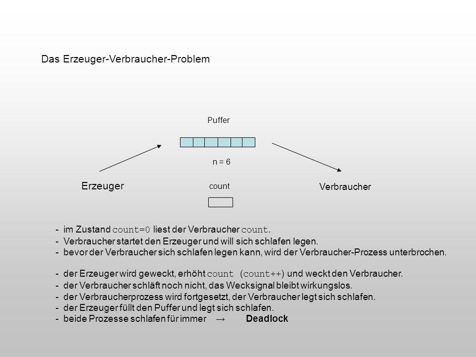 Das Erzeuger-Verbraucher-Problem Puffer count Erzeuger Verbraucher n = 6 - im Zustand count=0 liest der Verbraucher count. - Verbraucher startet den E