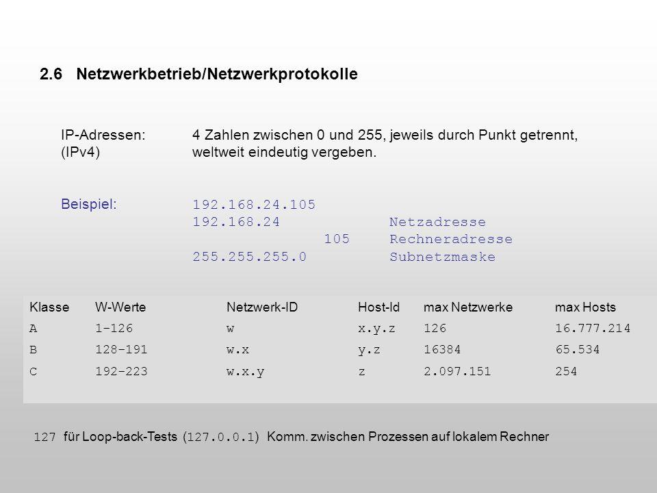 2.6 Netzwerkbetrieb/Netzwerkprotokolle IP-Adressen:4 Zahlen zwischen 0 und 255, jeweils durch Punkt getrennt, (IPv4)weltweit eindeutig vergeben. Beisp