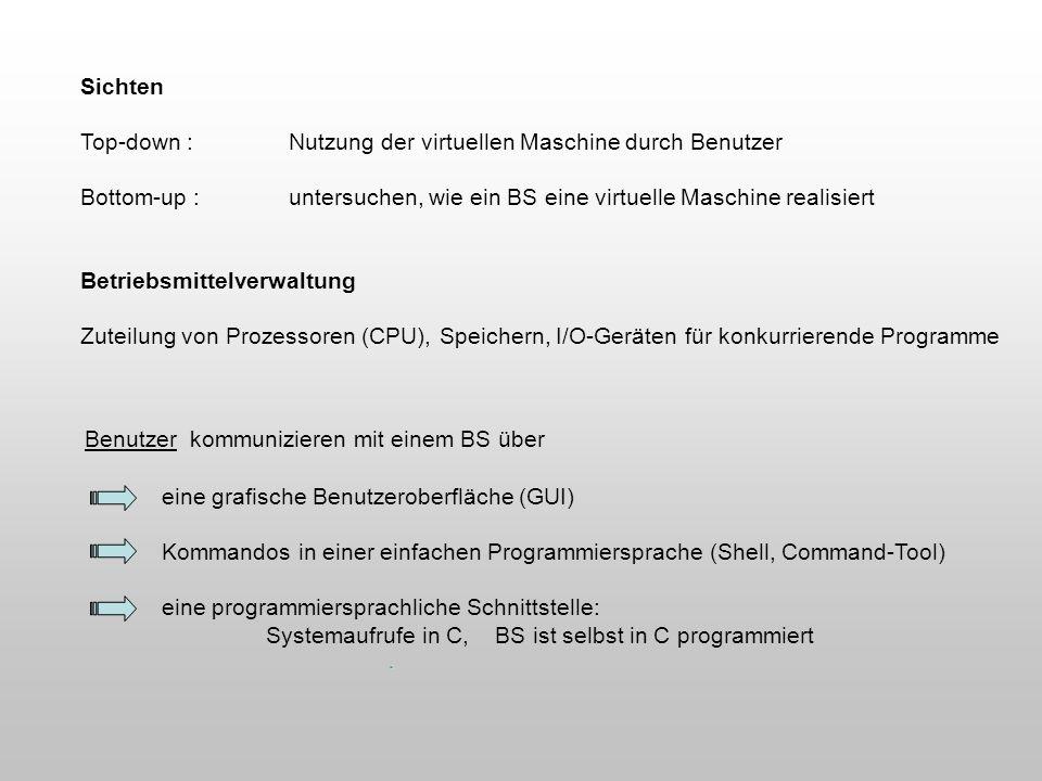 Benutzer kommunizieren mit einem BS über eine grafische Benutzeroberfläche (GUI) Kommandos in einer einfachen Programmiersprache (Shell, Command-Tool)