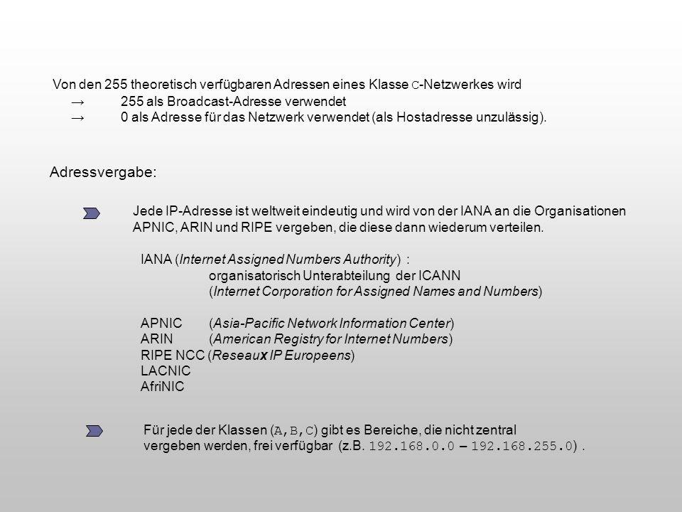Adressvergabe: Jede IP-Adresse ist weltweit eindeutig und wird von der IANA an die Organisationen APNIC, ARIN und RIPE vergeben, die diese dann wieder