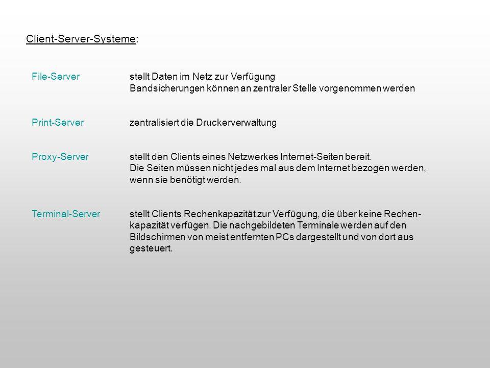 Client-Server-Systeme: File-Serverstellt Daten im Netz zur Verfügung Bandsicherungen können an zentraler Stelle vorgenommen werden Print-Serverzentral