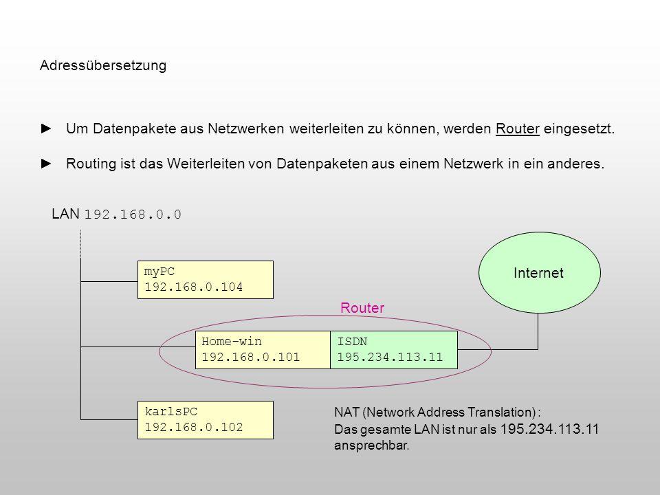 Adressübersetzung Um Datenpakete aus Netzwerken weiterleiten zu können, werden Router eingesetzt. Routing ist das Weiterleiten von Datenpaketen aus ei