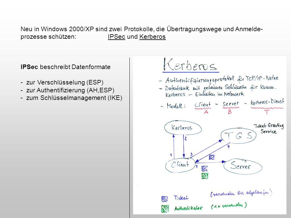 Neu in Windows 2000/XP sind zwei Protokolle, die Übertragungswege und Anmelde- prozesse schützen:IPSec und Kerberos IPSec beschreibt Datenformate - zu