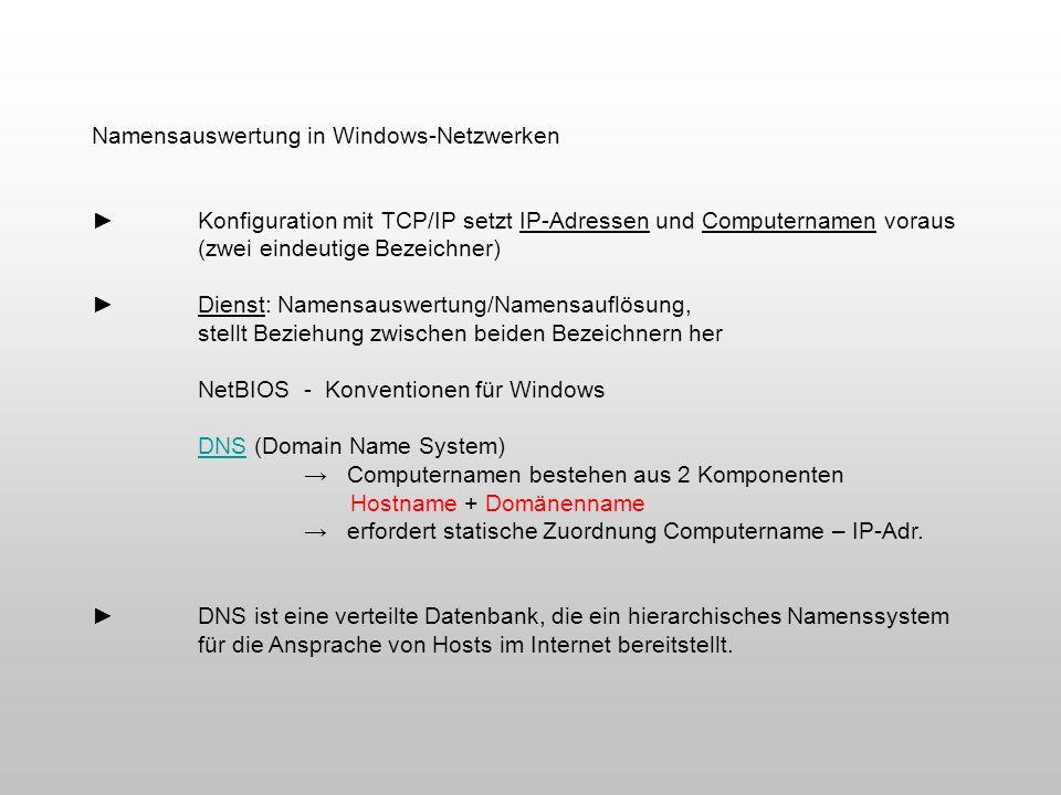 Namensauswertung in Windows-Netzwerken Konfiguration mit TCP/IP setzt IP-Adressen und Computernamen voraus (zwei eindeutige Bezeichner) Dienst: Namens