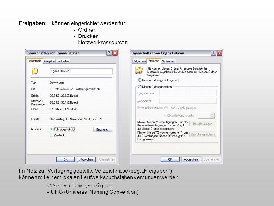 Freigaben: können eingerichtet werden für: - Ordner - Drucker - Netzwerkressourcen Im Netz zur Verfügung gestellte Verzeichnisse (sog. Freigaben) könn