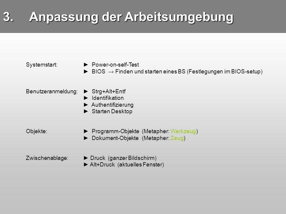 3.Anpassung der Arbeitsumgebung Systemstart: Power-on-self-Test BIOS Finden und starten eines BS (Festlegungen im BIOS-setup) Benutzeranmeldung: Strg+