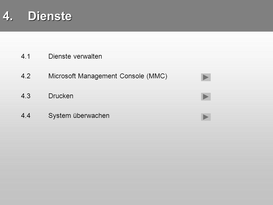 4.1 Dienste verwalten 4.Dienste 4.1Dienste verwalten 4.2Microsoft Management Console (MMC) 4.3Drucken 4.4System überwachen