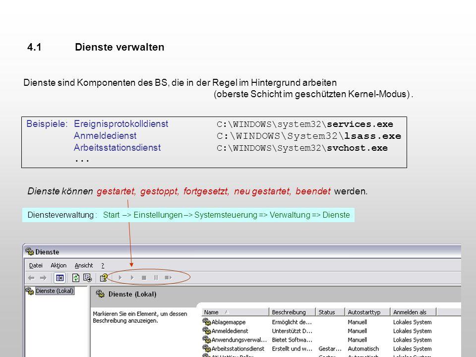 Dienste sind Komponenten des BS, die in der Regel im Hintergrund arbeiten (oberste Schicht im geschützten Kernel-Modus). Beispiele: Ereignisprotokolld