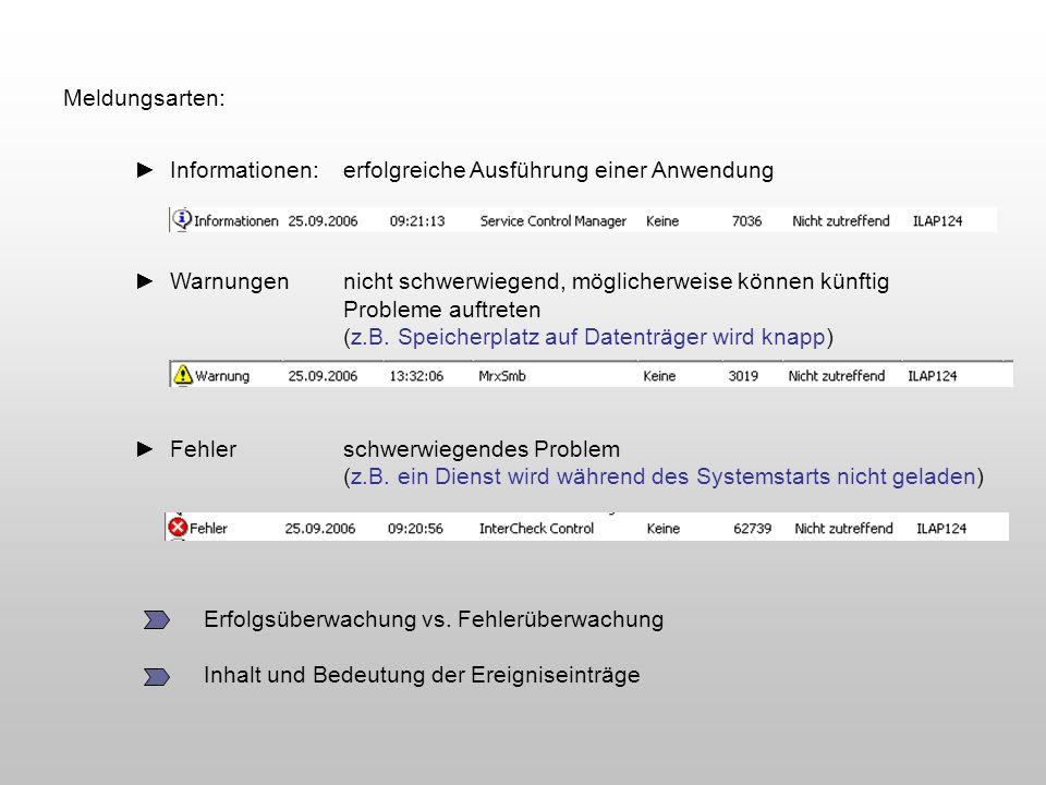 Meldungsarten: Informationen:erfolgreiche Ausführung einer Anwendung Warnungennicht schwerwiegend, möglicherweise können künftig Probleme auftreten (z