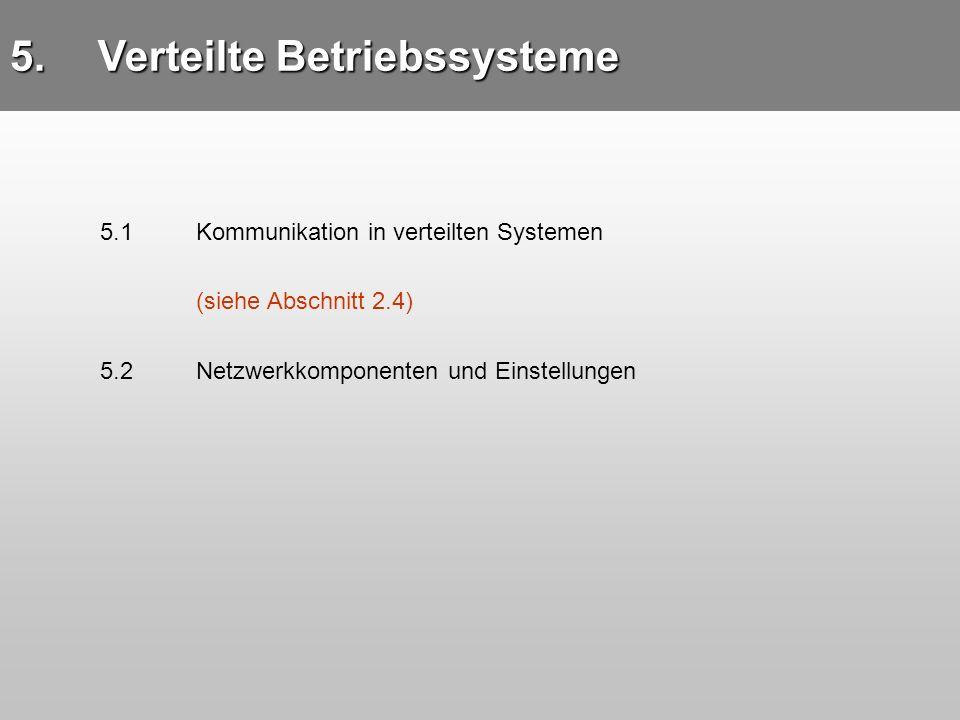 5.Verteilte Betriebssysteme 5.1 Kommunikation in verteilten Systemen (siehe Abschnitt 2.4) 5.2Netzwerkkomponenten und Einstellungen