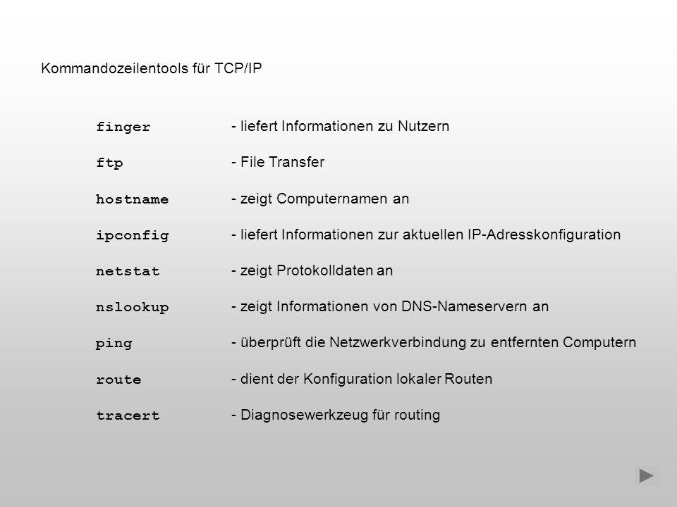 Kommandozeilentools für TCP/IP finger - liefert Informationen zu Nutzern ftp - File Transfer hostname - zeigt Computernamen an ipconfig - liefert Info