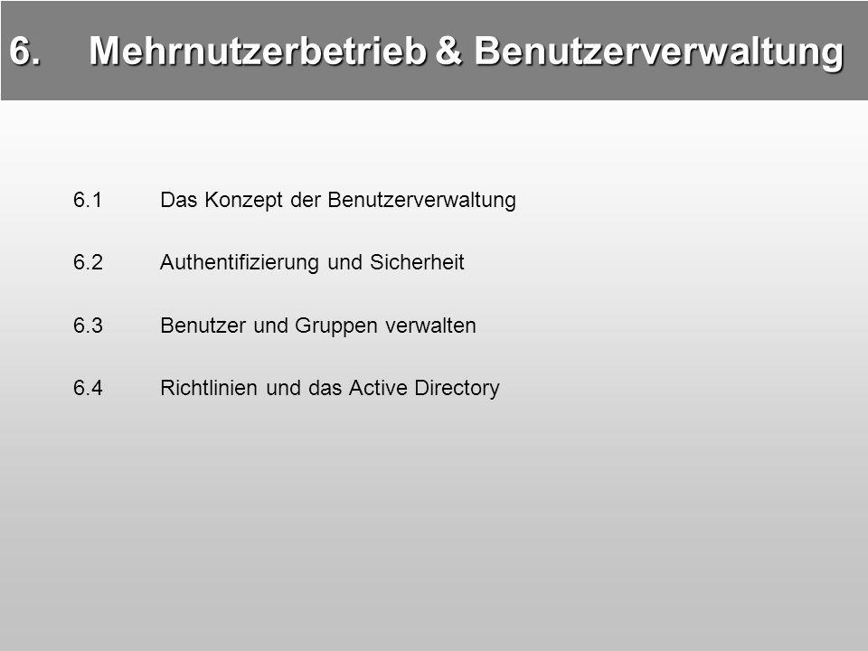 6.Mehrnutzerbetrieb & Benutzerverwaltung 6.1 Das Konzept der Benutzerverwaltung 6.2Authentifizierung und Sicherheit 6.3Benutzer und Gruppen verwalten