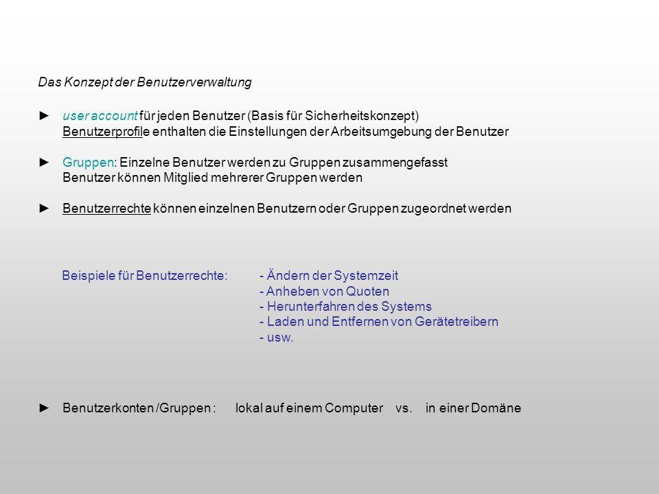 Das Konzept der Benutzerverwaltung user account für jeden Benutzer (Basis für Sicherheitskonzept) Benutzerprofile enthalten die Einstellungen der Arbe