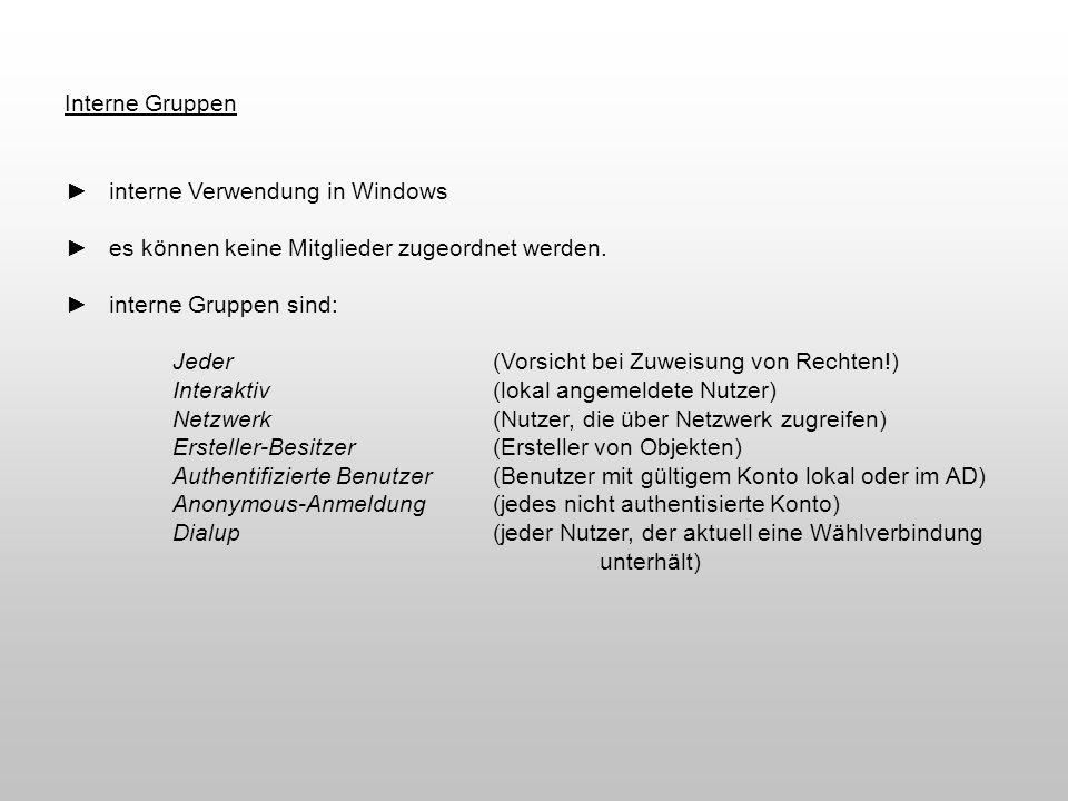 interne Verwendung in Windows es können keine Mitglieder zugeordnet werden. interne Gruppen sind: Jeder(Vorsicht bei Zuweisung von Rechten!) Interakti