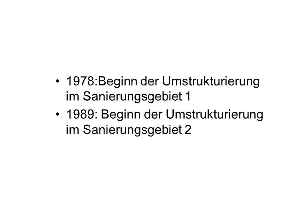 1978:Beginn der Umstrukturierung im Sanierungsgebiet 1 1989: Beginn der Umstrukturierung im Sanierungsgebiet 2