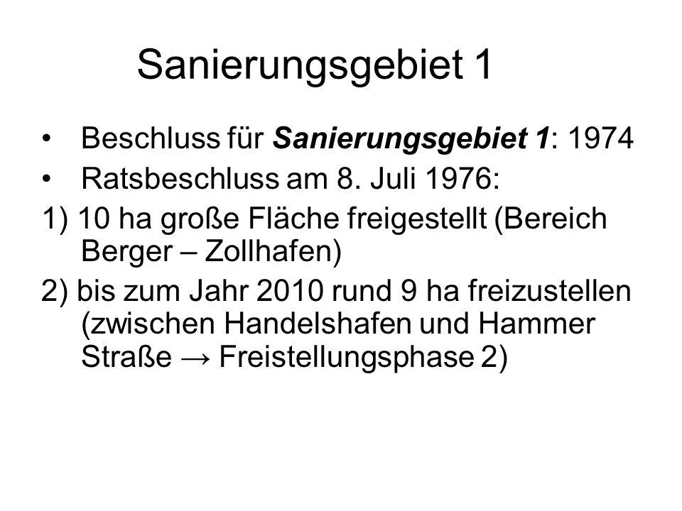 Sanierungsgebiet 1 Beschluss für Sanierungsgebiet 1: 1974 Ratsbeschluss am 8. Juli 1976: 1) 10 ha große Fläche freigestellt (Bereich Berger – Zollhafe