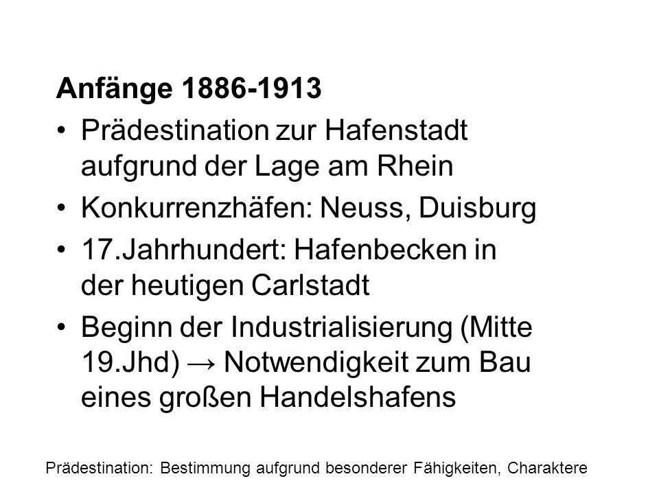 Anfänge 1886-1913 Prädestination zur Hafenstadt aufgrund der Lage am Rhein Konkurrenzhäfen: Neuss, Duisburg 17.Jahrhundert: Hafenbecken in der heutige