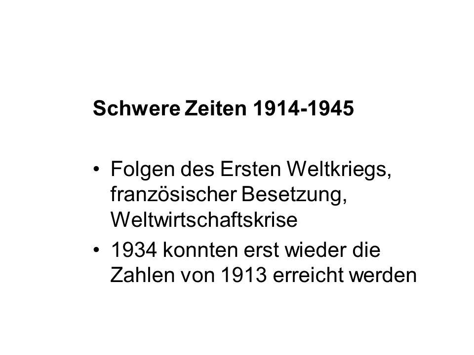Schwere Zeiten 1914-1945 Folgen des Ersten Weltkriegs, französischer Besetzung, Weltwirtschaftskrise 1934 konnten erst wieder die Zahlen von 1913 erre