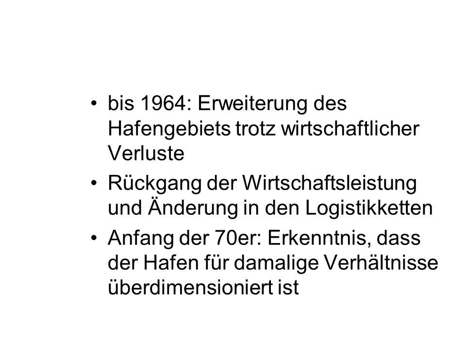 bis 1964: Erweiterung des Hafengebiets trotz wirtschaftlicher Verluste Rückgang der Wirtschaftsleistung und Änderung in den Logistikketten Anfang der