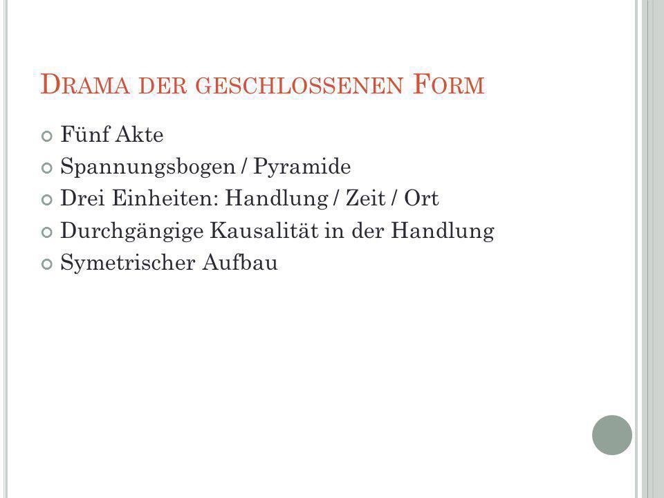 D RAMA DER GESCHLOSSENEN F ORM Fünf Akte Spannungsbogen / Pyramide Drei Einheiten: Handlung / Zeit / Ort Durchgängige Kausalität in der Handlung Symet